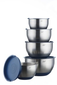 VonShef Stainless Steel Mixing Bowl Set with lids 5 Piece ...