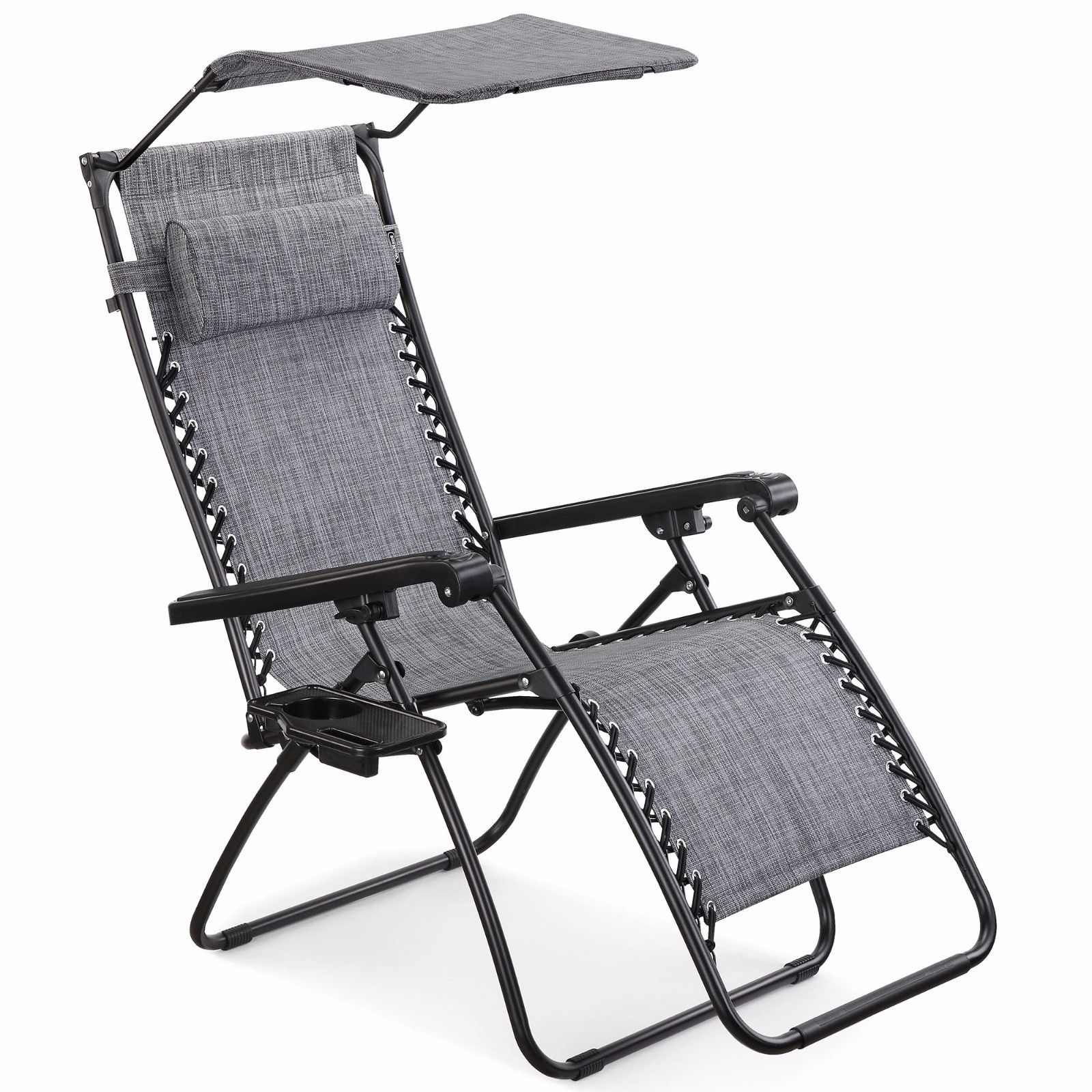 Outdoor Chair With Canopy Vonhaus Textoline Zero Gravity Chair Canopy Sun Lounger