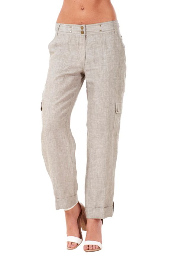 Ladies Smart Linen Casual Pants Cargo Holiday Summer