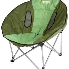 Comfortable Camping Chairs Modern Stackable Outdoor Urban Escape Moon Chair Green Steel Tube Foldable Comfort