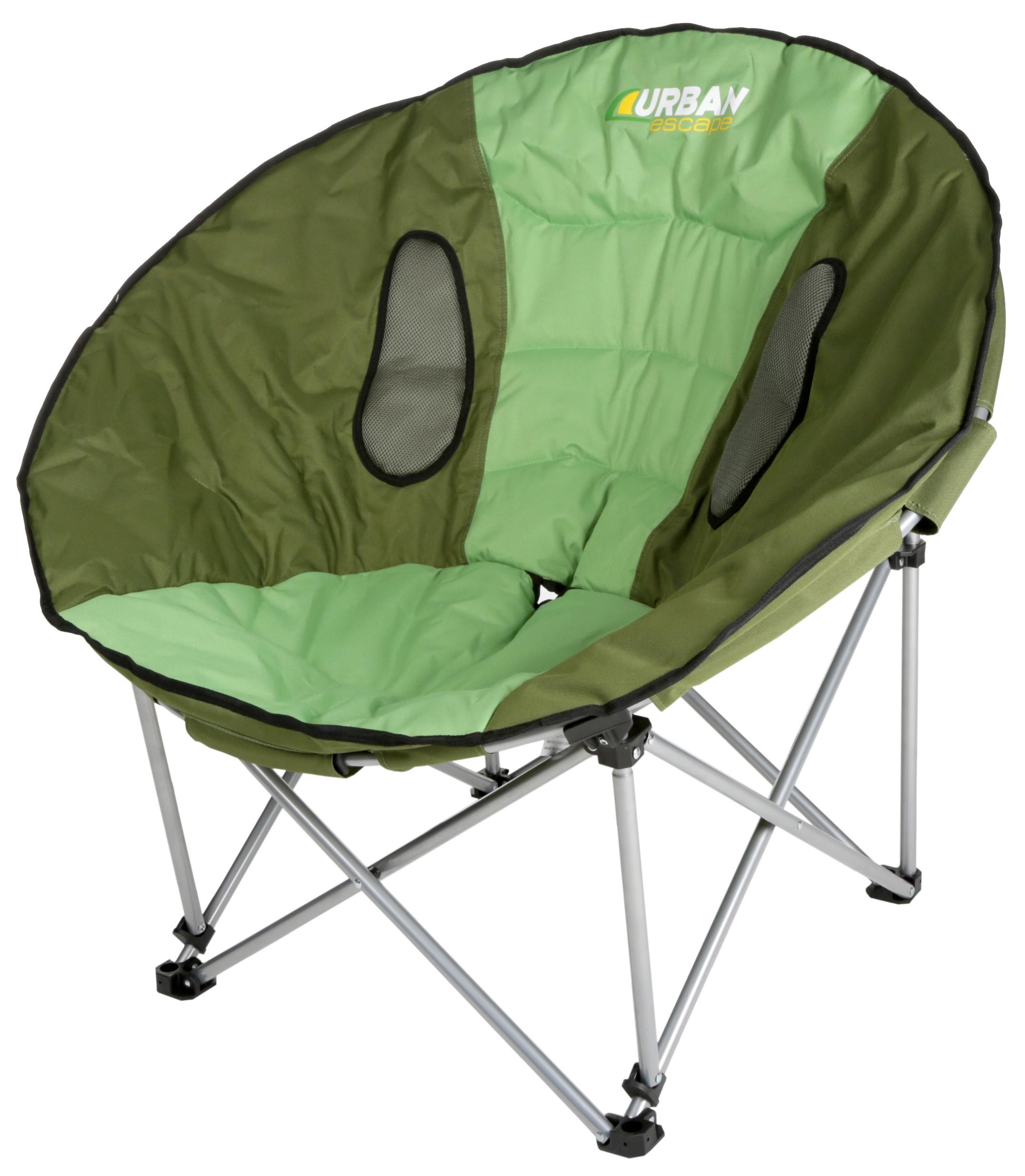 Comfortable Camping Chairs Urban Escape Moon Chair Green Steel Tube Foldable Comfort