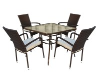 Rattan Garden Dining Table With Tempered Glass Table Top ...