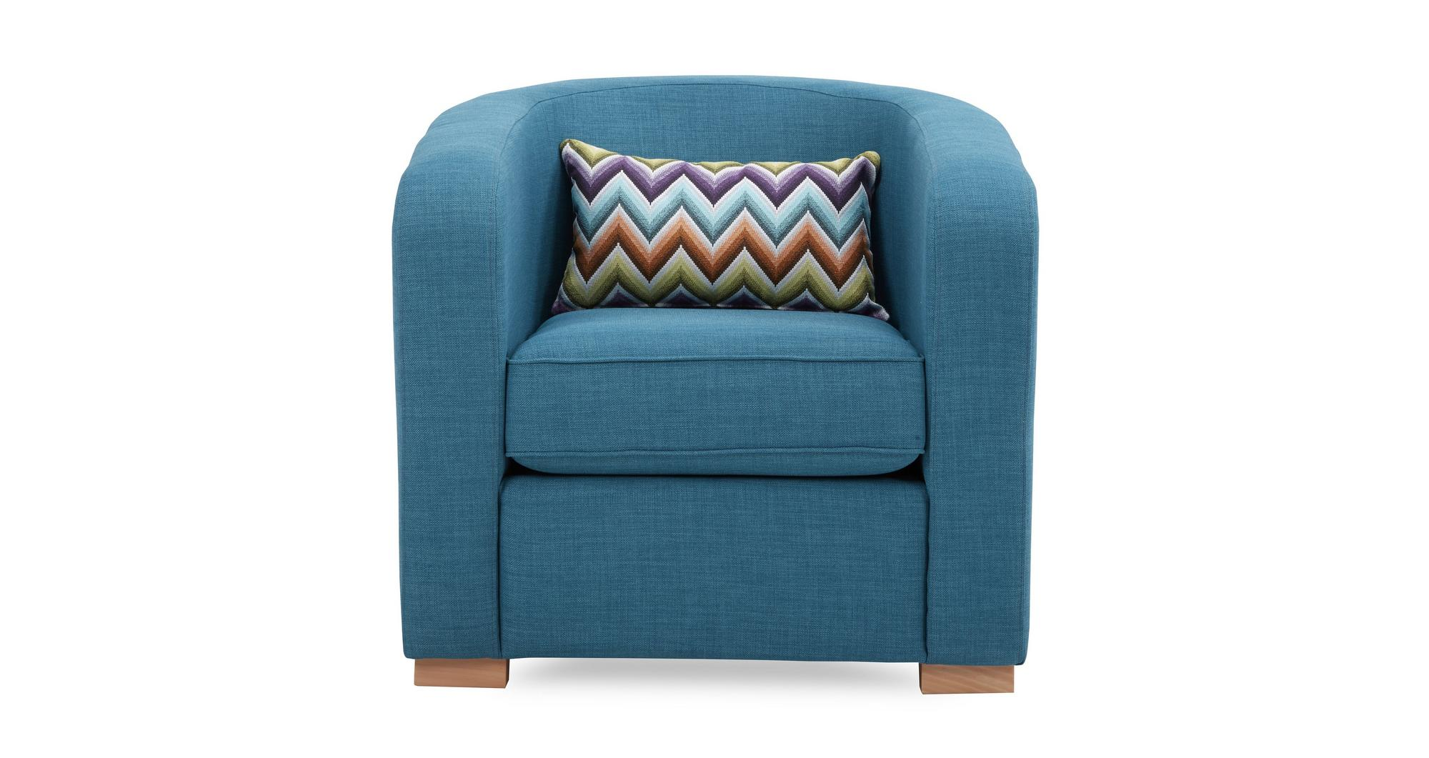 blue pattern accent chair office back cushion dfs pizzazz teal fabric with