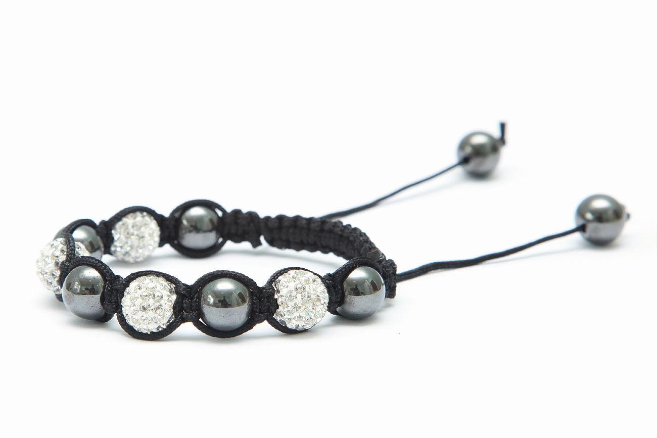 WHITE Pave Crystal Clay Shamballa Bracelet DIY Kit