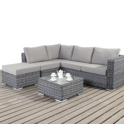 Garden Chair Covers Homebase How To Reupholster A Wing Port Royal Rattan Platinum Grey Small Corner Sofa And Table