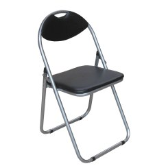 Folding Visitor Chair Grey And Yellow Accent Black Pvc Spare Guest Silver Powder Frame