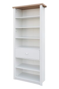 St Ives 6 Shelf Single Drawer Tall Slim Bookcase Storage