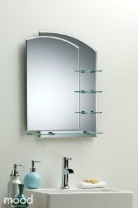 BATHROOM MIRROR Modern Stylish WITH SHELVES Frameless Wall