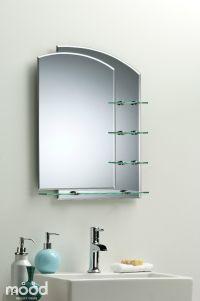 BATHROOM MIRROR Modern Stylish WITH SHELVES Frameless Wall ...
