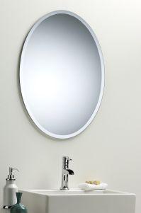 BATHROOM WALL MIRROR Modern Stylish OVAL WITH BEVEL ...