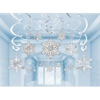 30 x Hanging Christmas Snowflake & Foil Swirl Party ...