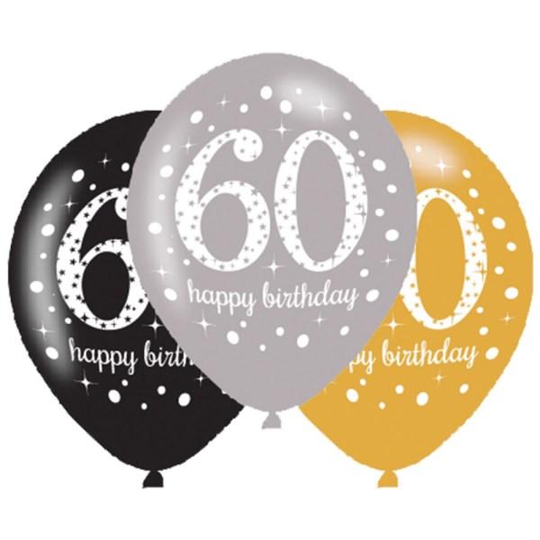 6 x 60th birthday balloons black