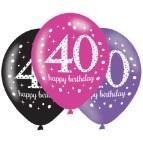 40th Birthday Black Balloons
