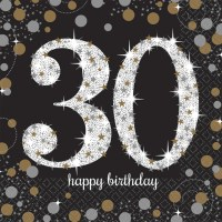16 x Black Age 30 Napkins Black gold silver 30th Birthday