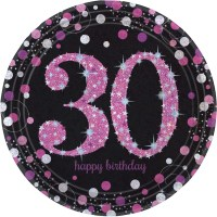 8 x Pink Celebration Age 30 Paper Plates Pink & Black 30th
