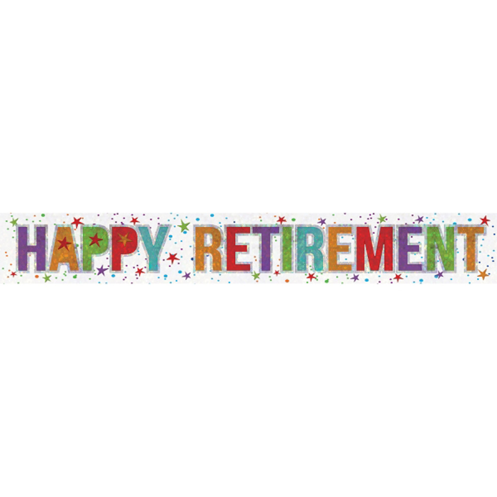 Retirement Banner Party Decoration Bunting Shiny