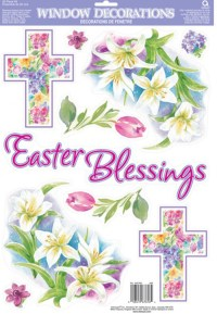 Easter Blessings Window Stickers Decorations Easter Cross ...