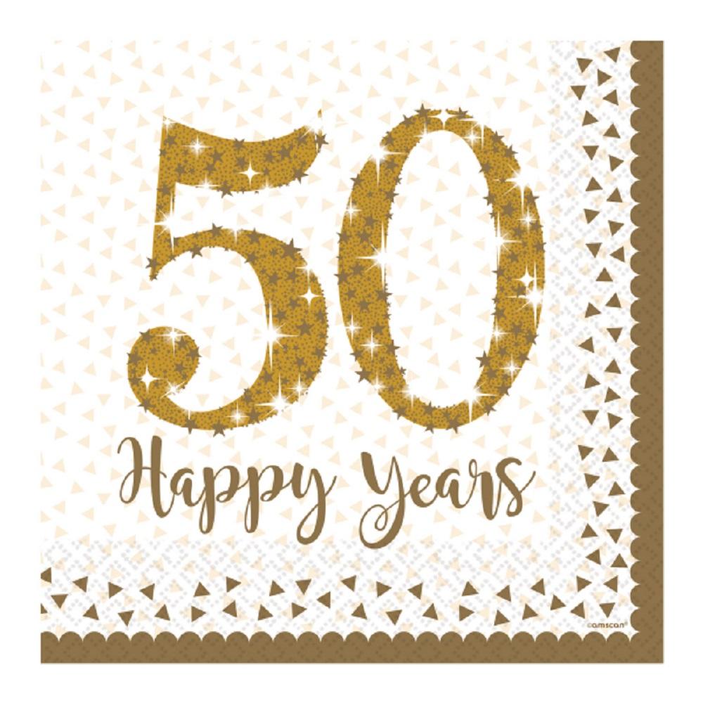 Golden Wedding Napkins Sparkling Gold 50th Anniversary
