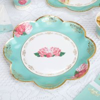 8 x Vintage Style Tea Party Paper Plates Shabby Chic Rose ...