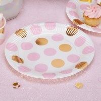 8 x Pink & Gold Polka Dot Paper Plates Baby Shower Tea ...