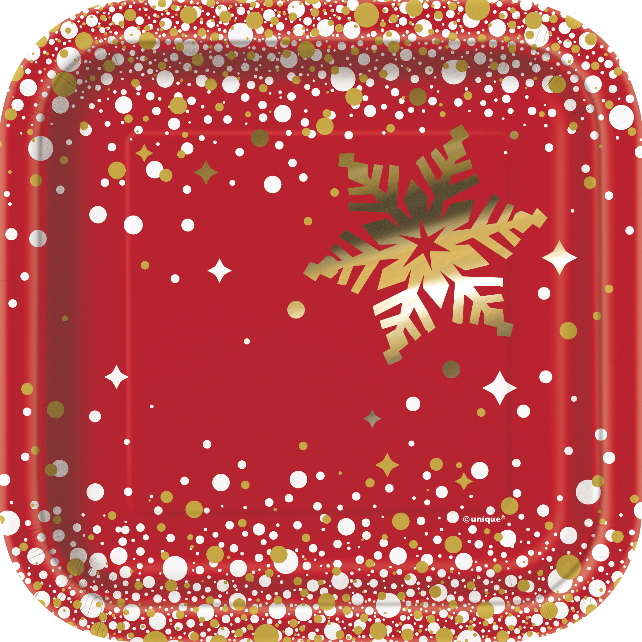 8 x Shiny Gold Foil Snowflakes Paper Plates 18cm Red