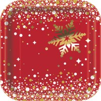 8 x Shiny Gold Foil Snowflakes Paper Plates 18cm Red