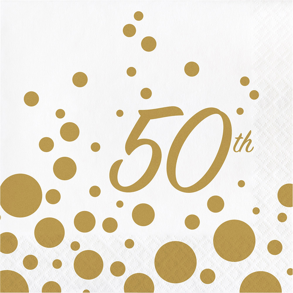 16 x Golden Wedding Party Paper Napkins 50th Anniversary