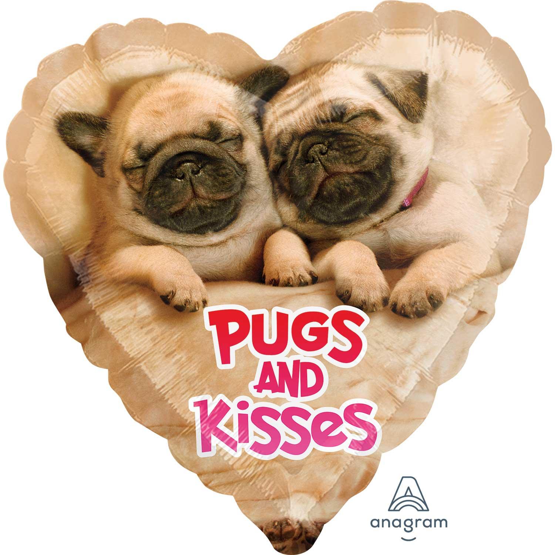 Valentines Day Foil Helium Balloon Pugs Amp Kisses Pug Dog