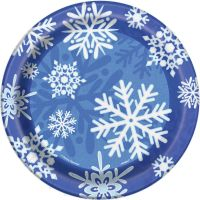 "8 x Blue & White Frozen Snowflakes Paper Plates 7"" Winter"