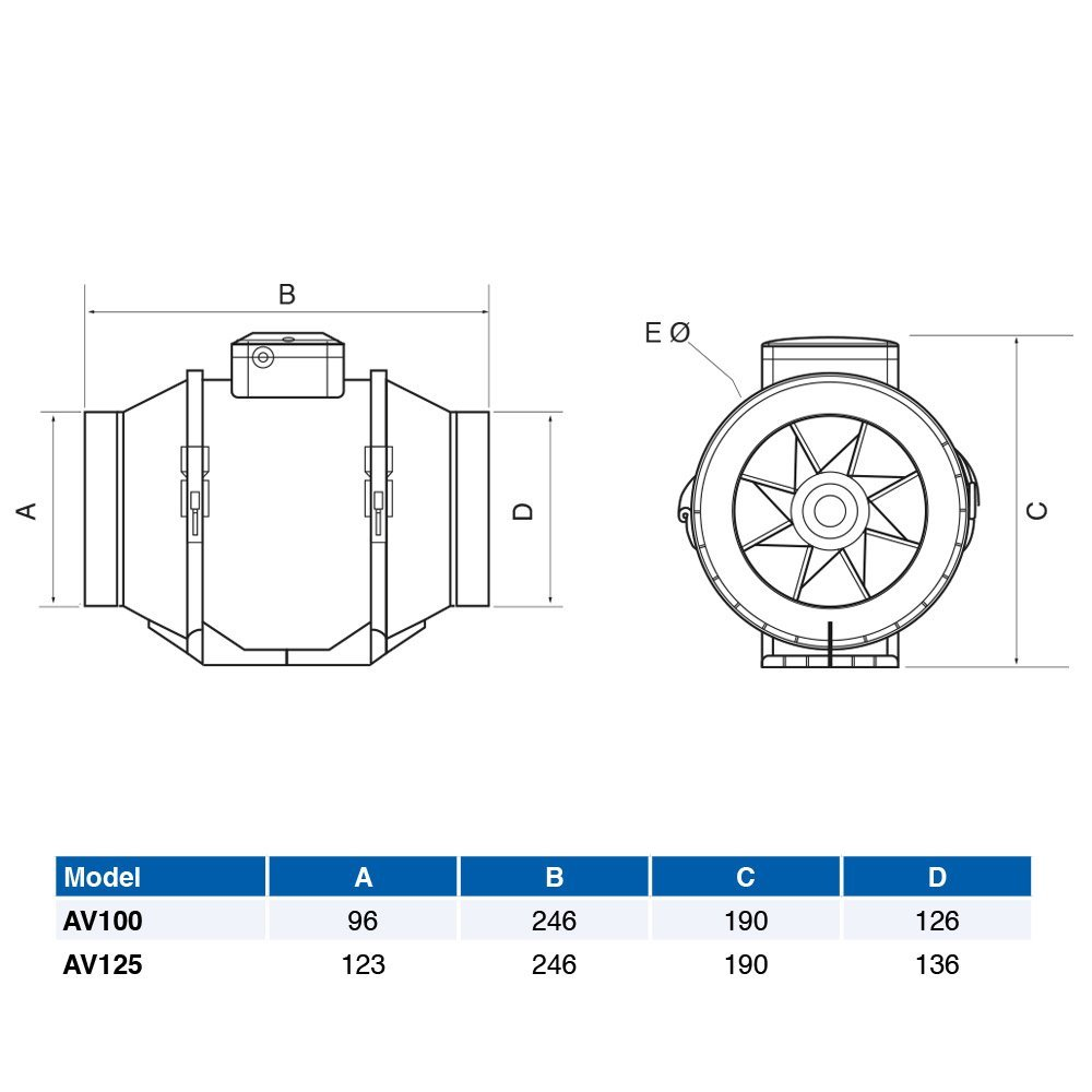 Airflow Aventa AV125 Inline Fan 125mm Mixed Flow 2 Speed