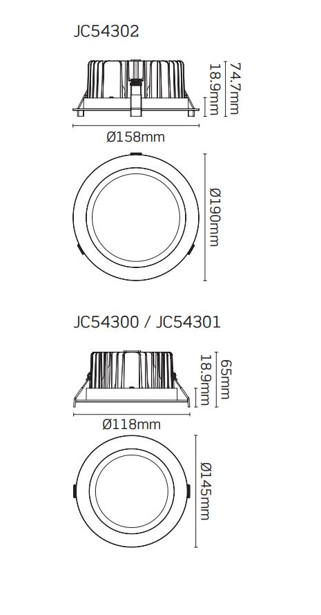 JCC High Performance Commercial LED Downlights 18W 25W or