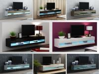 TV Stand Cabinet with LED Lights High Gloss ...