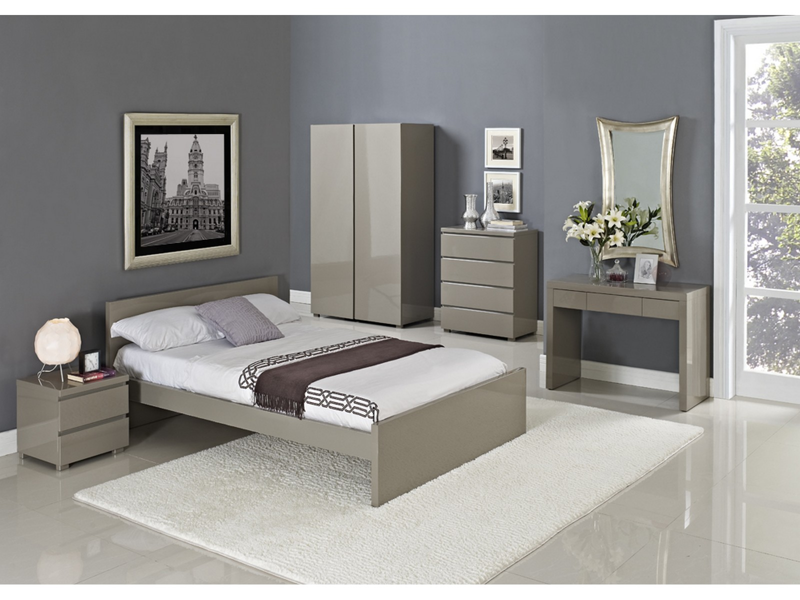 details about puro high gloss bedroom range beds wardrobe chest stone cream 3ft 4ft6 5ft