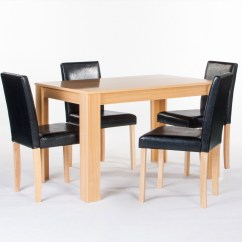 Dining Table With Leather Chairs Stool Chair Green Cambridge Oak 4 Black Faux