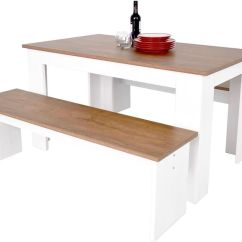 White Bench For Kitchen Table Cushions Chairs Kendal Dining And Seat Set 3d Textured