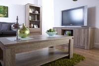 Canyon Dark Oak Living Room Furniture - Storage Table TV ...
