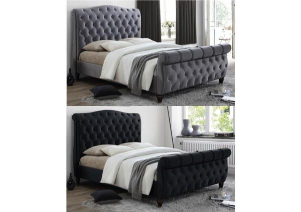 Birlea Colorado Chesterfield Fabric Sleigh Bed - Kingsize