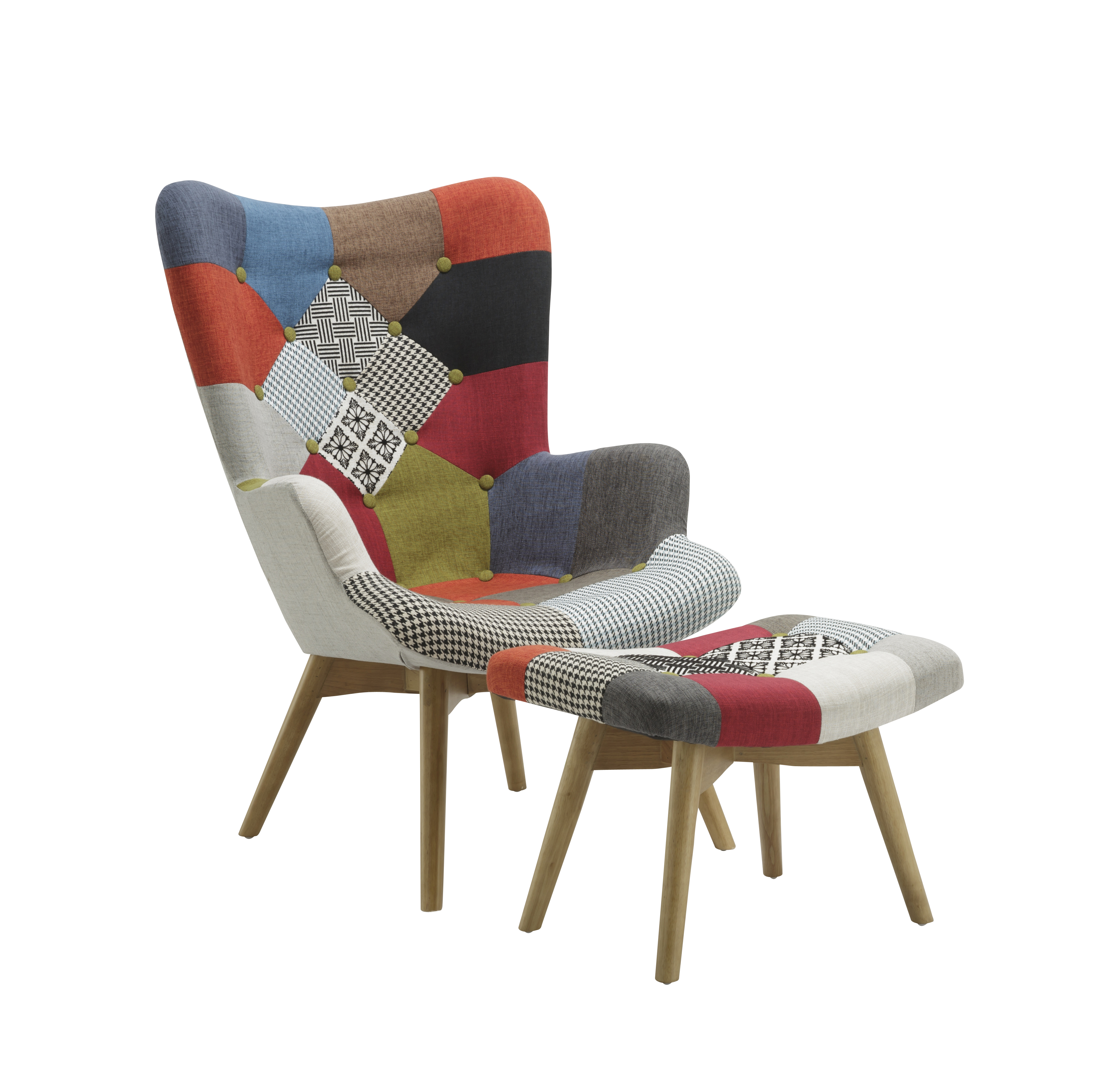 chair stool retro modern rocking nursery uk patchwork armchair and multicolour