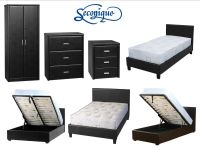 Faux Leather Bedroom Furniture Set Wardrobe Chest Cabinet ...