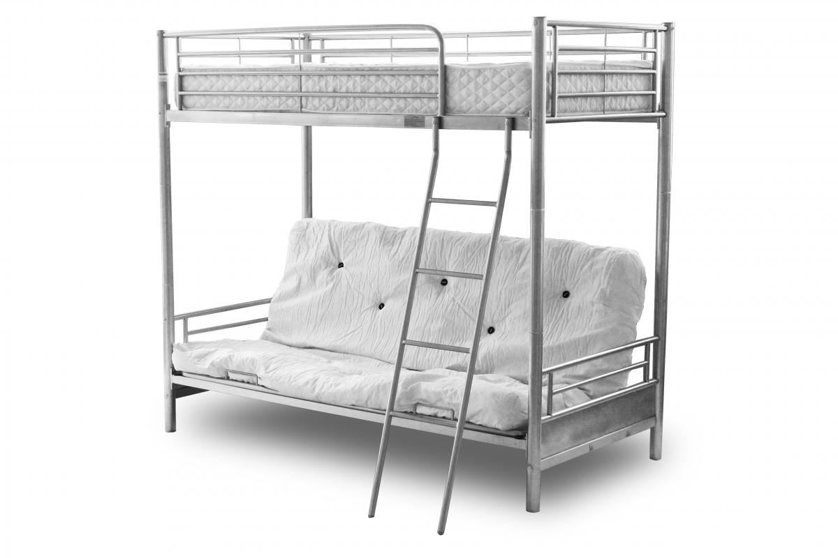 loft bed with chair futon french louis chairs for sale alaska silver metal frame bunk sofa at
