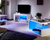 Polar White High Gloss Furniture with LED Lights - Coffee ...