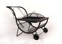 BBQ Fire Pit Grill Outdoor Fireplace on Wheels Trolley ...