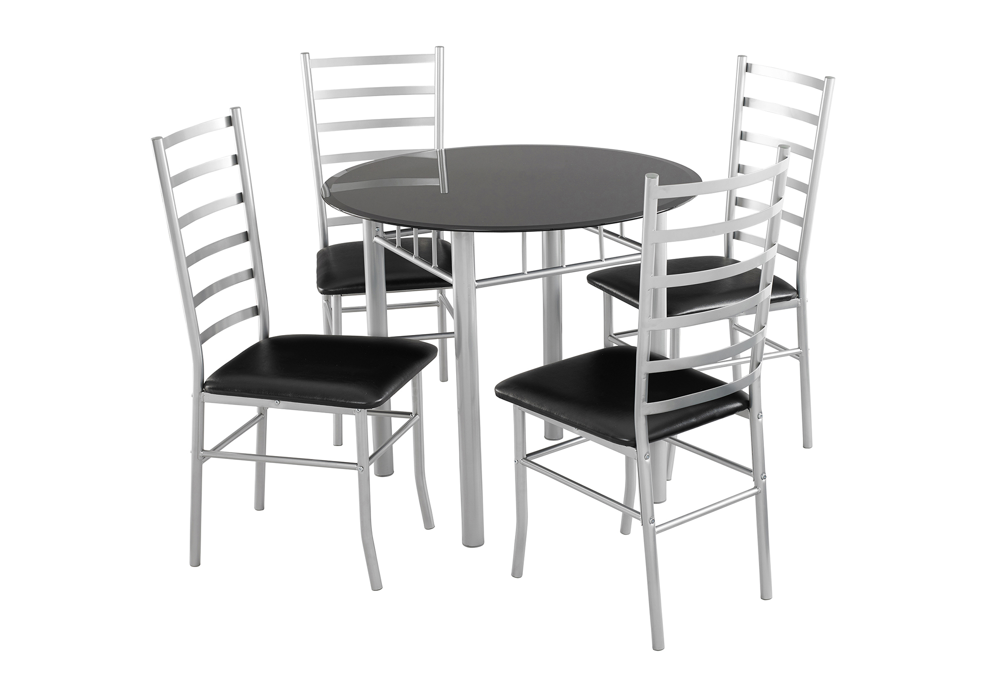 set of 4 chairs adjustable desk chair lincoln dining seater black glass table details about padded seats