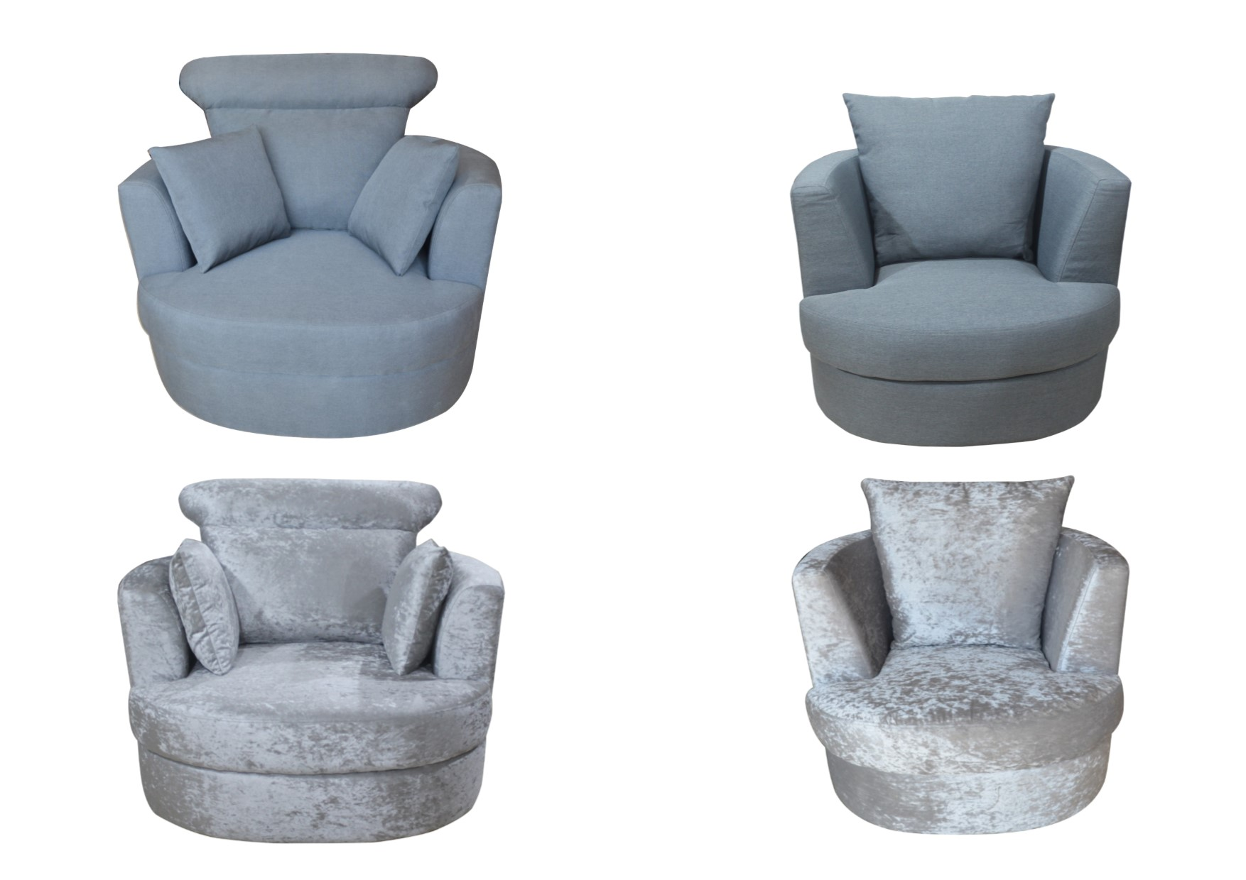 Small Club Chair Details About Lpd Bliss Snug Swivel Chairs Large Or Small Silver Crushed Velvet Grey Linen