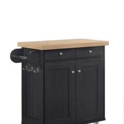 Portable Kitchen Cart Countertops Michigan Island Trolley On Wheels With Cupboard Storage Black