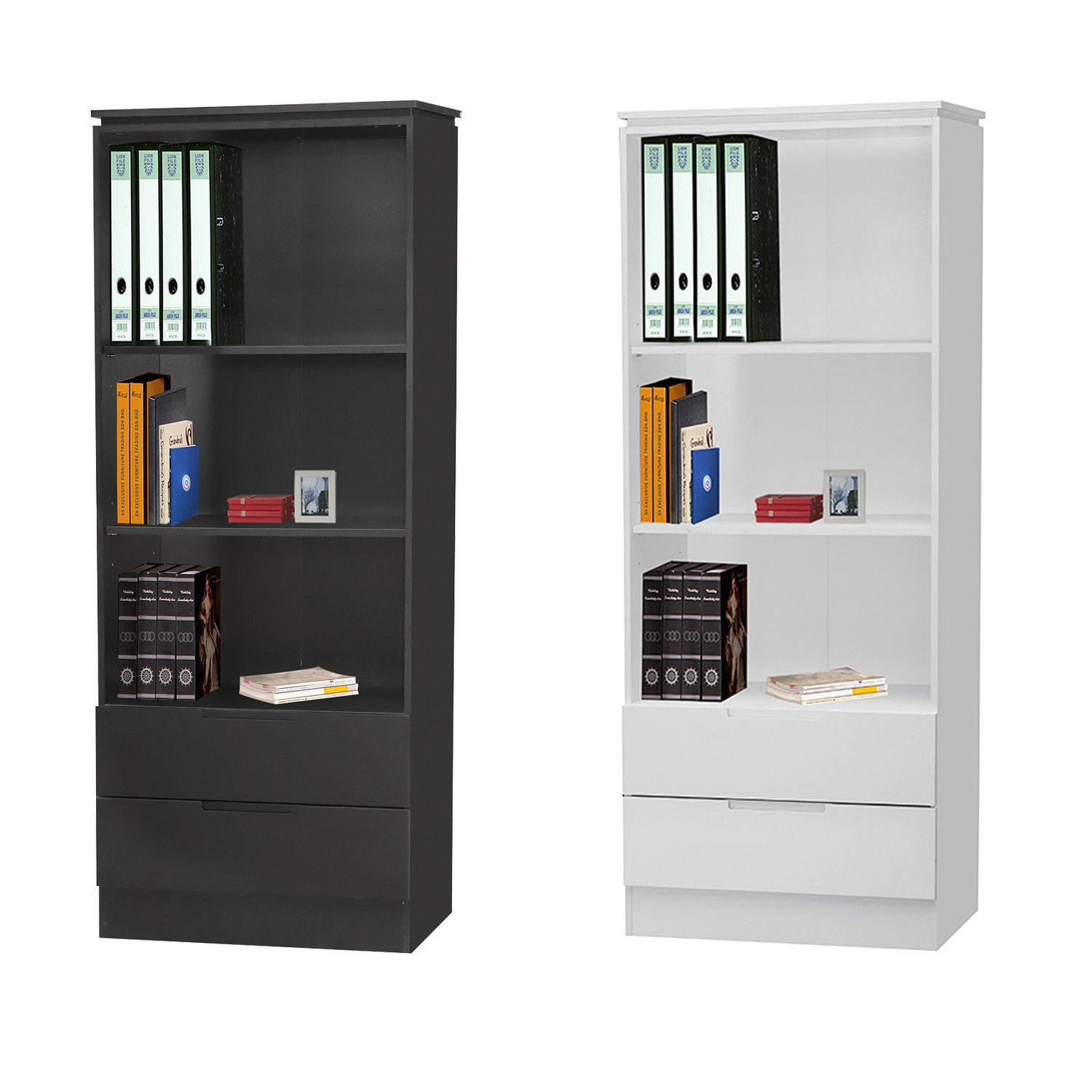Details About Orb Tall Bookcase With 2 Doors 3 Shelves Modern Design Black Or White
