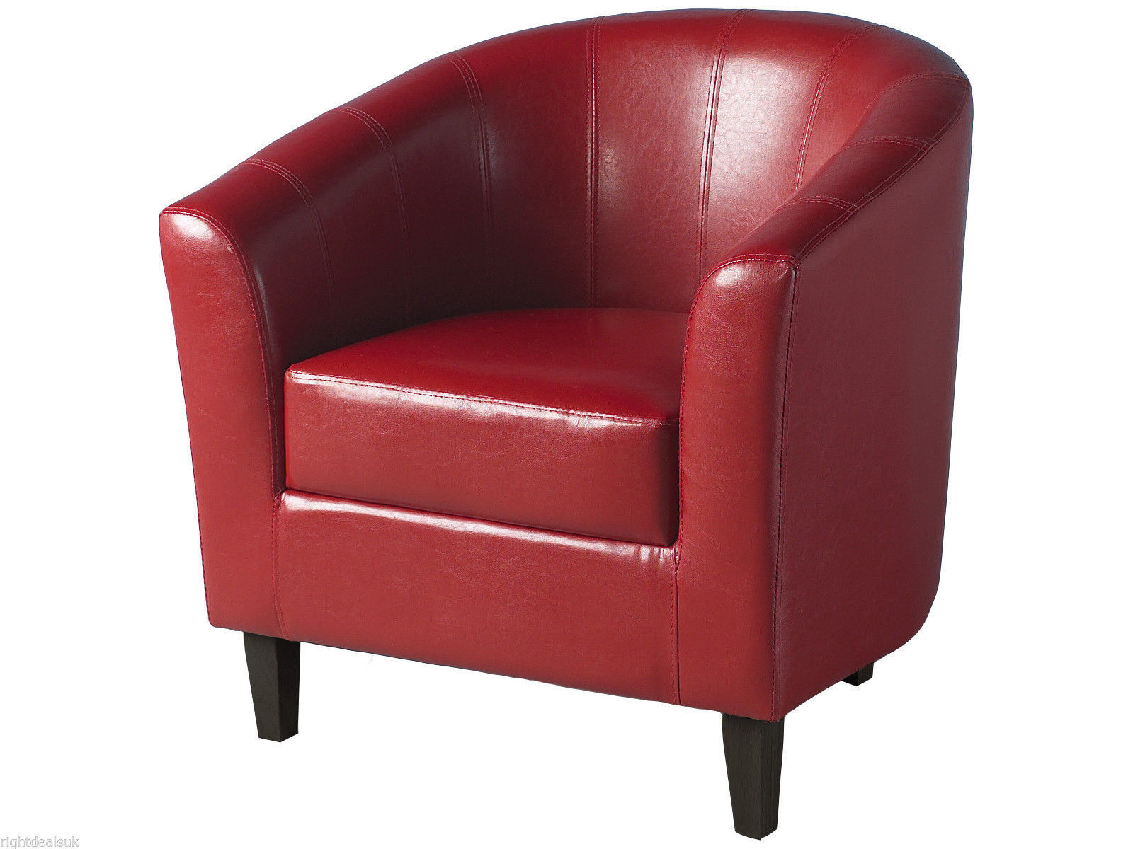 leather tub chair grey covers seconique tempo red faux with wooden