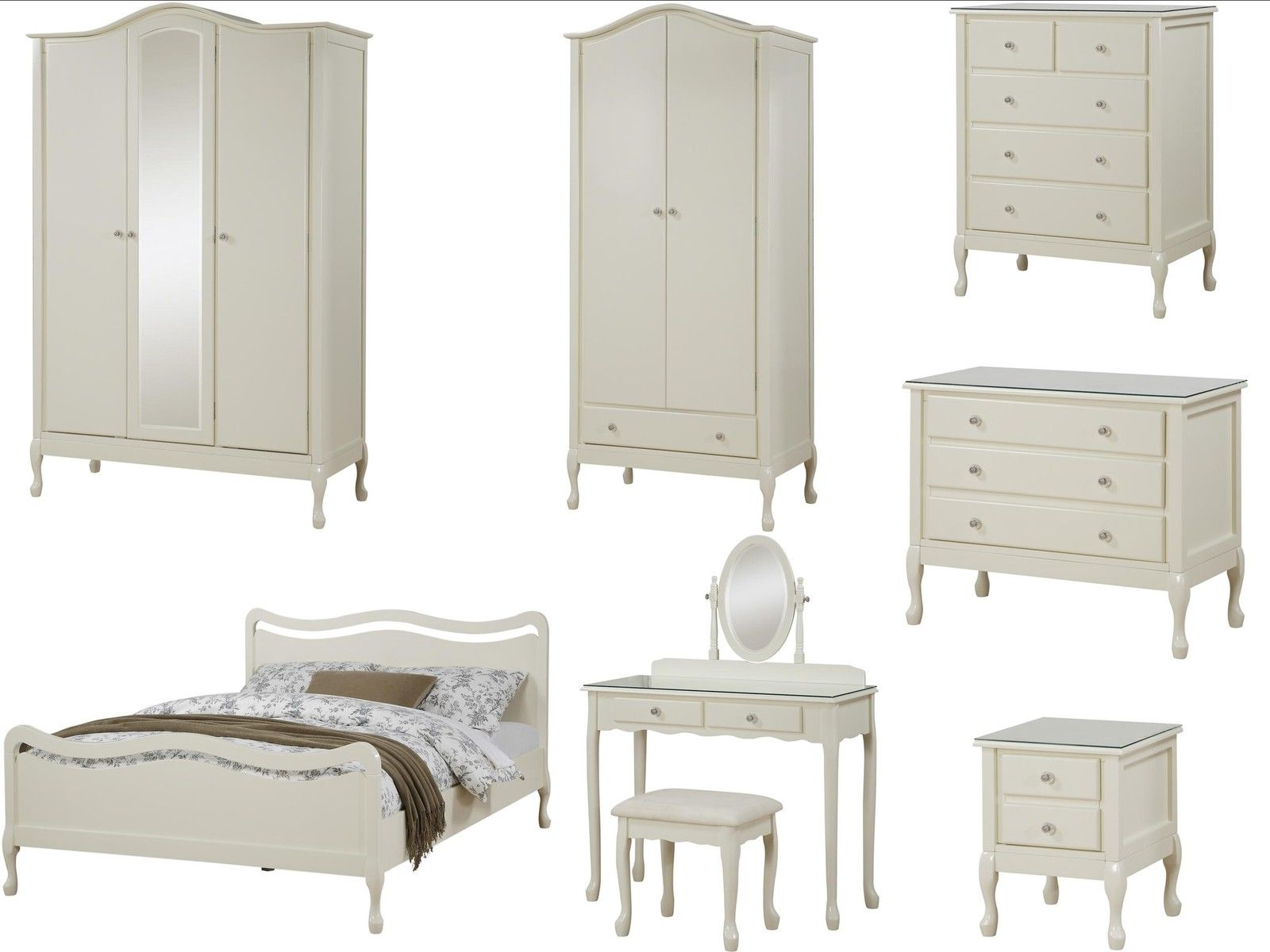 Loire Shabby Chic Ivory Bedroom Furniture  Wardrobe