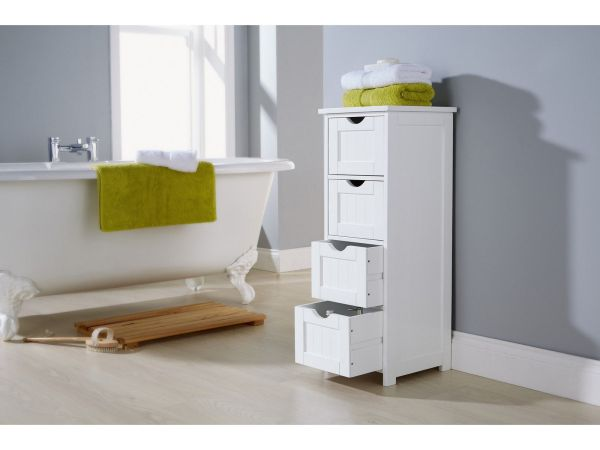 White Bathroom Storage Cabinets with Drawers