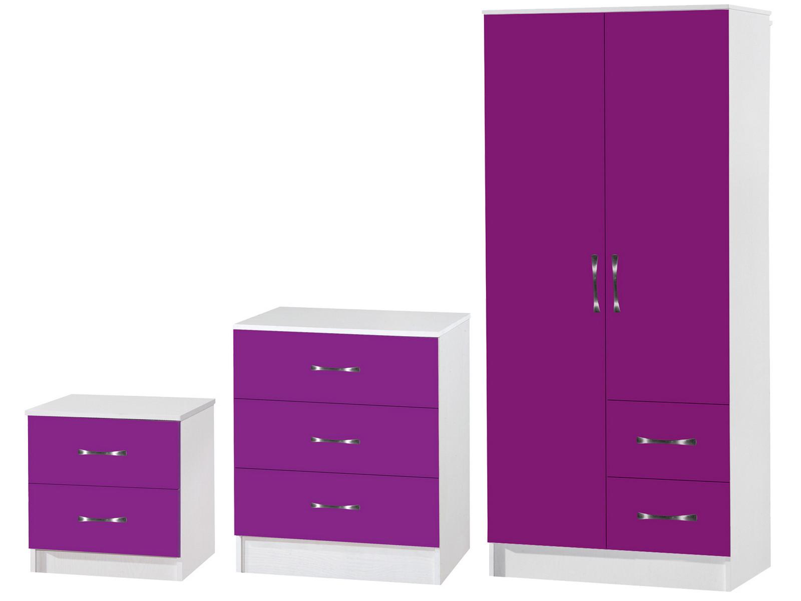 Purple  White 3 Piece Bedroom Furniture Set  Marina High
